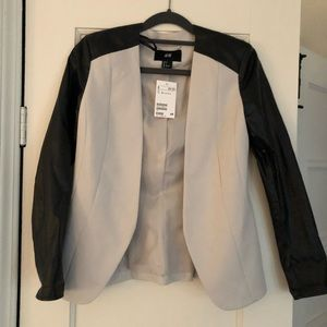 Off white and faux leather blazer